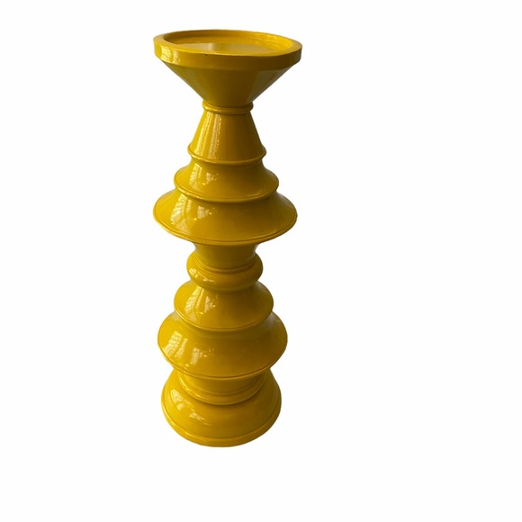 Large Bright Yellow Turned Wood Candlestick Holder